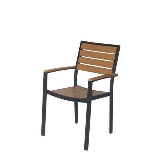 Picture of Napa Dining Arm Chair (Black & Teak) SC-2405-163