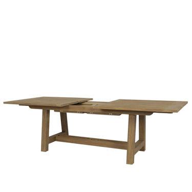 """Coastal Teak 79""""-118"""" Dining Table With Leaf Extension Designer Outdoor Furniture"""