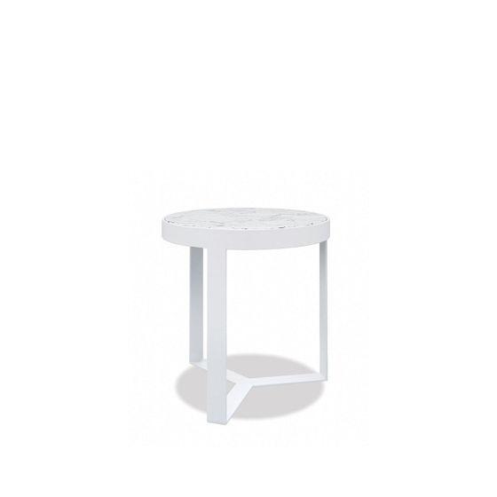 "18"" Honed Carrara Round End Table Designer Outdoor Furniture"